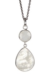 Sterling Silver White Rainbow Moonstone Pendant Necklace