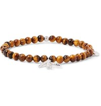 Isaia Tiger's Eye And Sterling Silver Beaded Bracelet Brown