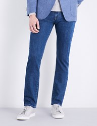 Canali Slim Fit Skinny Mid Rise Jeans Blue Wash