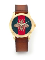 Gucci G Timeless Embroidered Bee Goldtone Stainless Steel And Leather Strap Watch Cognac Multi