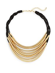 Saks Fifth Avenue Slinky Necklace Black Gold
