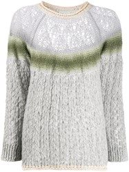 Forte Forte Contrast Stripe Knit Jumper Grey