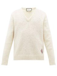 Gucci V Neck Gg Logo Patch Wool Sweater White