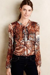 Meadow Rue Burnished Paisley Blouse Blue Motif