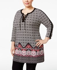 Jm Collection Plus Size Lace Up Mixed Print Tunic Only At Macy's Sevilla Tile