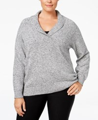 Karen Scott Plus Size Marled Shawl Collar Sweater Only At Macy's Winter White Marble
