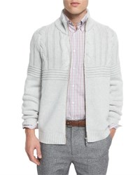 Brunello Cucinelli Cashmere Cable Knit Front Zip Cardigan Fog