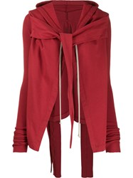 Rick Owens Drkshdw Hooded Deconstructed Jacket Red