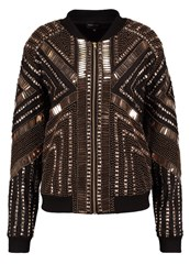 Missguided Peace Love Bomber Jacket Black Gold