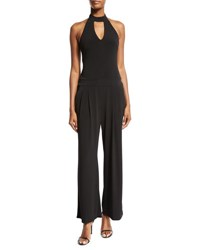 Halter Wide Leg Jersey Jumpsuit Black