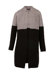 Morgan Two Tone Wool Effect Cardigan Black