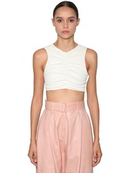 Drome Leather Crop Top White