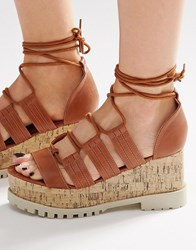 Asos Touche Lace Up Wedge Sandals Tan