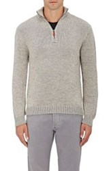 Inis Meain Men's Baby Alpaca Silk Half Zip Sweater Grey