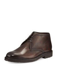 Ermenegildo Zegna Burnished Leather Chukka Boot Brown