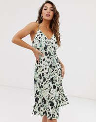 Na Kd Floral Print Frill Dress In Green