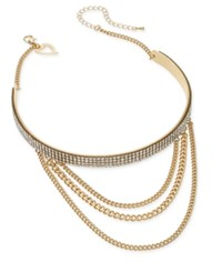 Thalia Sodi Gold Tone Crystal Layered Chain Choker Necklace Only At Macy's