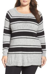 Vince Camuto Plus Size Women's Stripe Speckled Sweater