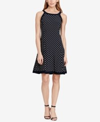 American Living Polka Dot Jersey Dress Navy White