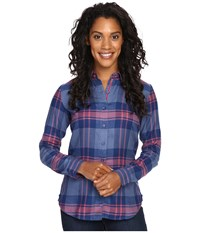 Kuhl Ophelia Flannel Shirt Storm Blue Women's Long Sleeve Button Up Black