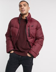 Hollister Heavy Puffer Jacket In Burgundy Red