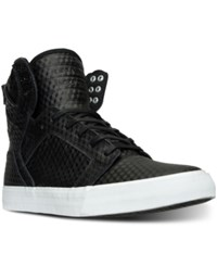 Supra Men's Skytop High Top Casual Sneakers From Finish Line Black White 3D Embossed