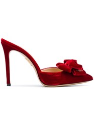 Charlotte Olympia Pointed Bow Mules Red