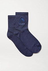 Maria La Rosa Aquarius Embroidered Silk Blend Socks Navy