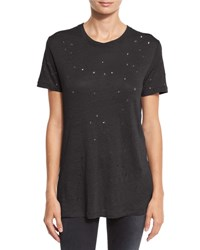 Iro Clay Abstract Distressed Linen Tee Black Peach