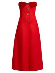 Rebecca De Ravenel Strapless Silk And Wool Blend Midi Dress Red