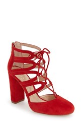 Vince Camuto Women's 'Shavona' Ghillie Pump Red Rose Suede