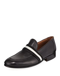 Donald J Pliner Alvino Web Leather Loafer Black