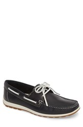 Ecco Dip Moc Boat Shoe Navy Leather