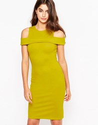 Glamorous Pencil Dress With Cut Out Detail Acid Yellow