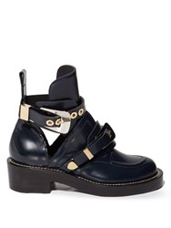 Balenciaga Ceinture Cut Out Leather Ankle Boots Navy