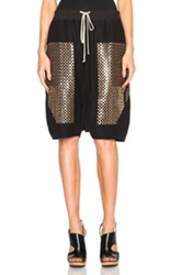 Rick Owens Sequin Embroidered Pod Shorts In Black Metallics