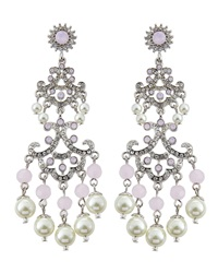 Rj Graziano R.J. Graziano Rhinestone Chandelier Earrings Pink Pearl