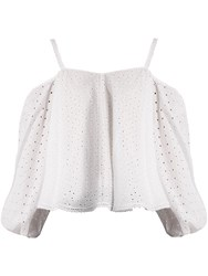 Anna October Puff Sleeve Off The Shoulder Broderie Anglaise Top White