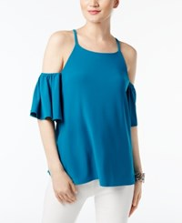 Inc International Concepts Cold Shoulder Flutter Sleeve Blouse Only At Macy's True Teal