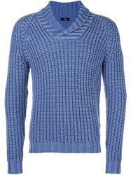 Fay Shawl Lapel Ribbed Jumper Blue