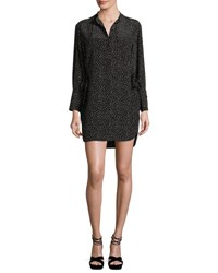 Grey By Jason Wu Long Sleeve Polka Dot Shift Dress Black Natural Multi