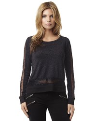 Buffalo David Bitton Lovely Lace Inset Glitter Pullover