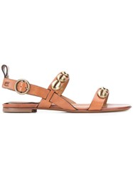 Etro Shell Embellished Sandals Brown