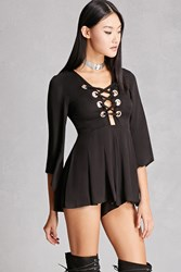 Forever 21 Selfie Leslie Lace Up Romper Black