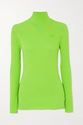 Courreges Embroidered Ribbed Cotton Turtleneck Sweater Bright Green