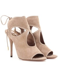 Aquazzura Sexy Thing 105 Suede Sandals Beige