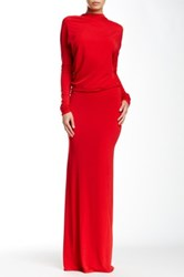Issue New York Dolman Sleeve Backless Gown Red