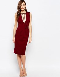 Finders Keepers Superstition Plunge Dress Brick Red
