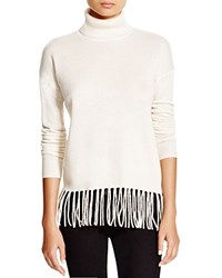C By Bloomingdale's Fringe Turtleneck Sweater Winter White