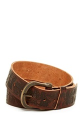 A. Kurtz Shaw Embossed Leather Belt Brown